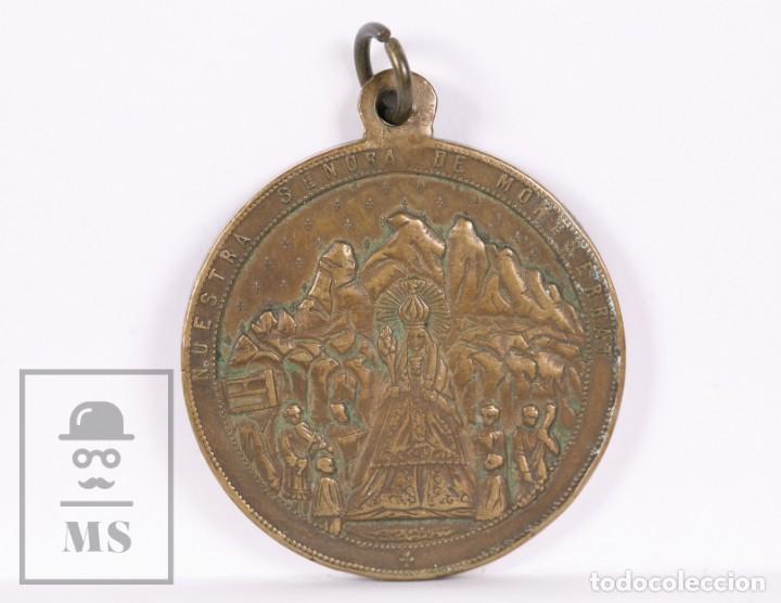 Antigüedades: Antigua Medalla Religiosa Bronce - Santo Benito Fundador / Nuestra Señora de Montserrat - Diám 35 mm - Foto 2 - 163019146