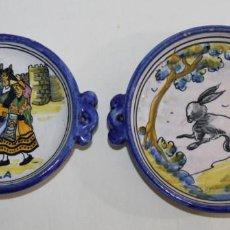 Antigüedades: DOS ESCUDILLAS EN CERÁMICA ESMALTADA DE TALAVERA FIRMADAS NIVEIRO - MEDIADOS SIGLO XX. Lote 163036934
