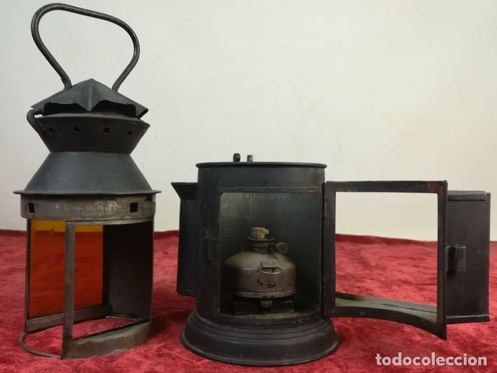 Antigüedades: FAROL DE SEÑALES EN VÍA FERROVIARIA. RENFE. SIGLO XIX. ESPAÑA - Foto 3 - 163066034