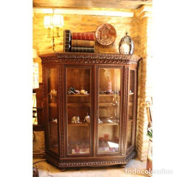 Antigüedades: Antigua vitrina de madera de cedro - Foto 2 - 163079846