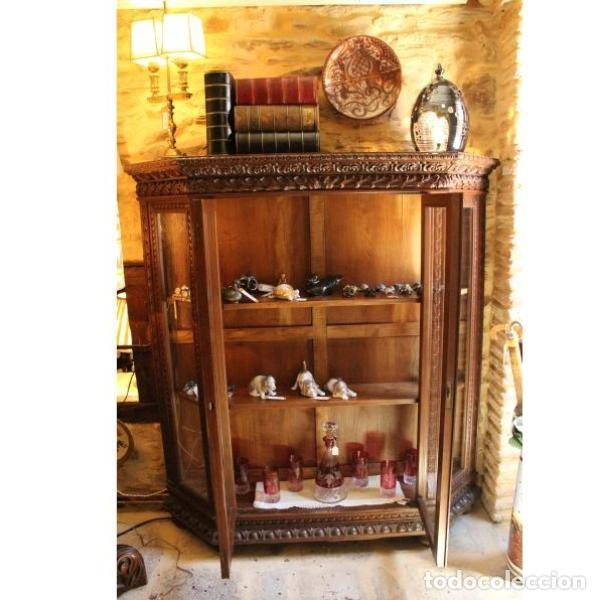 Antigüedades: Antigua vitrina de madera de cedro - Foto 8 - 163079846