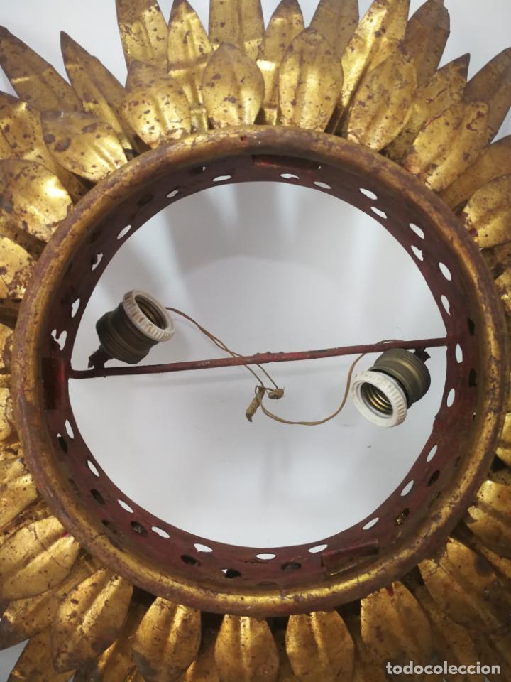 Antigüedades: ANTIGUA LÁMPARA VINTAGE DE HIERRO TIPO SOL DE TRIPLE CORONA - Foto 3 - 163081754