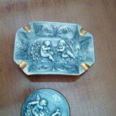 Antigüedades: CAJITA Y CENICERO DE PORCELANA CAPODIMONTE. Lote 163082413
