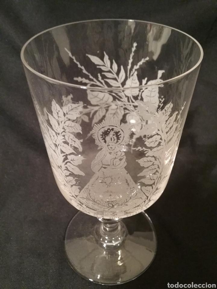 Antigüedades: Vaso de cristal de la granja de la Virgen del Pilar gravado al acido ,14.50cm x 7.50 cm - Foto 3 - 163082762