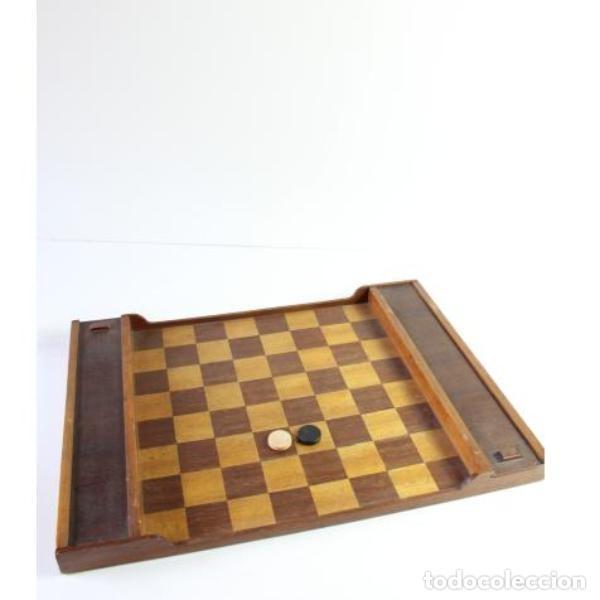 Antigüedades: Antiguo juego ajedrez y damas - Foto 2 - 163083030