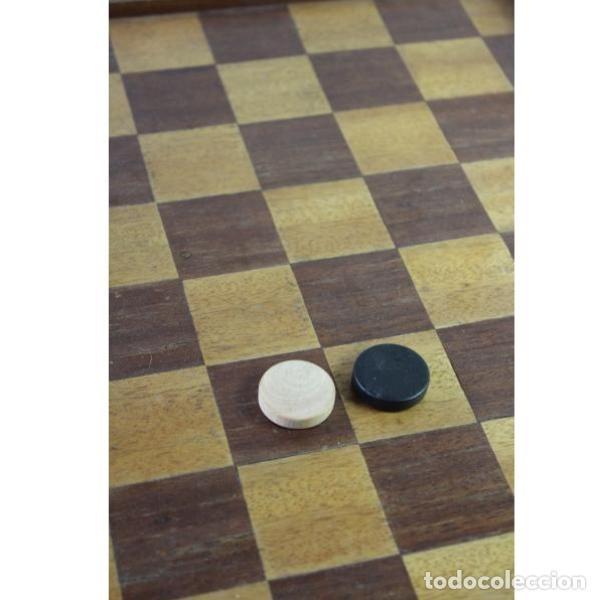 Antigüedades: Antiguo juego ajedrez y damas - Foto 3 - 163083030