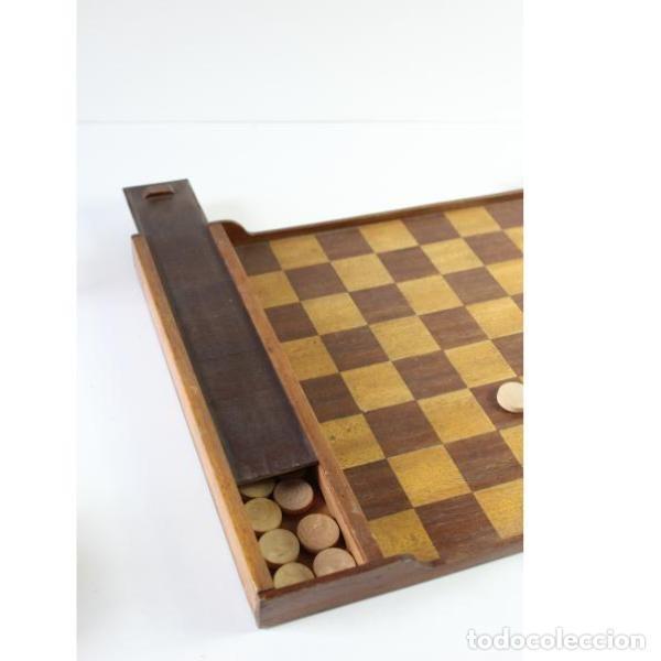 Antigüedades: Antiguo juego ajedrez y damas - Foto 4 - 163083030