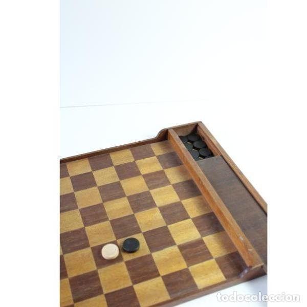 Antigüedades: Antiguo juego ajedrez y damas - Foto 5 - 163083030