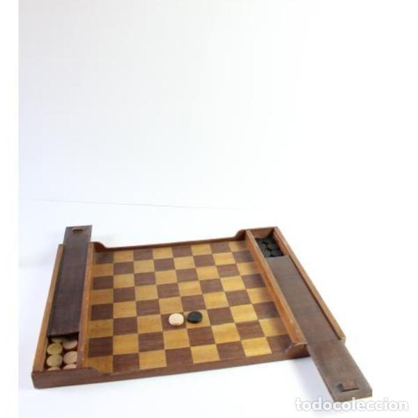 Antigüedades: Antiguo juego ajedrez y damas - Foto 6 - 163083030