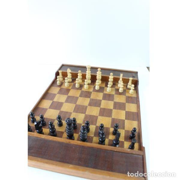 Antigüedades: Antiguo juego ajedrez y damas - Foto 9 - 163083030