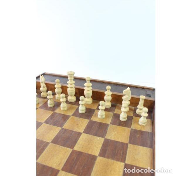 Antigüedades: Antiguo juego ajedrez y damas - Foto 10 - 163083030