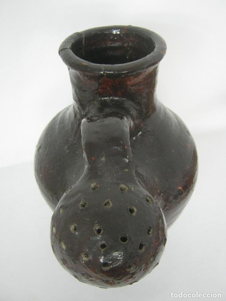 Antigüedades: 5 kg - Espectacular grande raro - cantaro ceramica balear regadera s.XIX - Foto 10 - 163116442