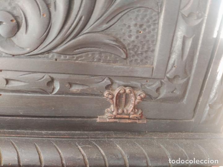 Antigüedades: ANTIGUO BARGUEÑO TALLAS MAGNIFICAS OBRA DE ARTE CAJONES Y LLAVE SGLO XVIII - Foto 26 - 52948120