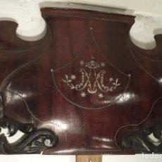Antigüedades: REMATE DE CAMA CHAPADO EN PALOSANTO, MARQUETERÍA METÁLICA, 91 CM. Lote 163119794