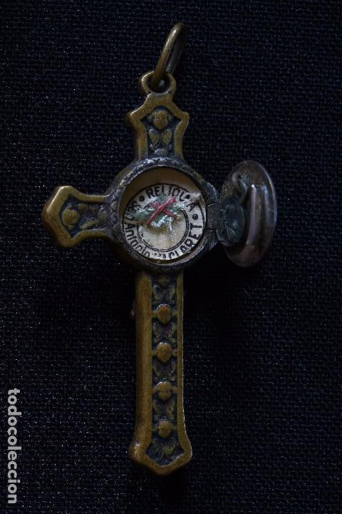 Antigüedades: CRUZ CON RELIQUIA SAN ANTONIO CLARET - Foto 3 - 163130826