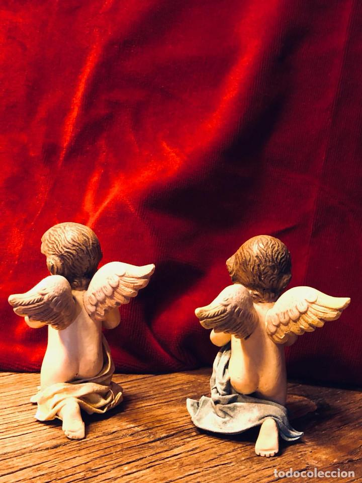 Antigüedades: Pareja ángeles orantes - Foto 2 - 163185406