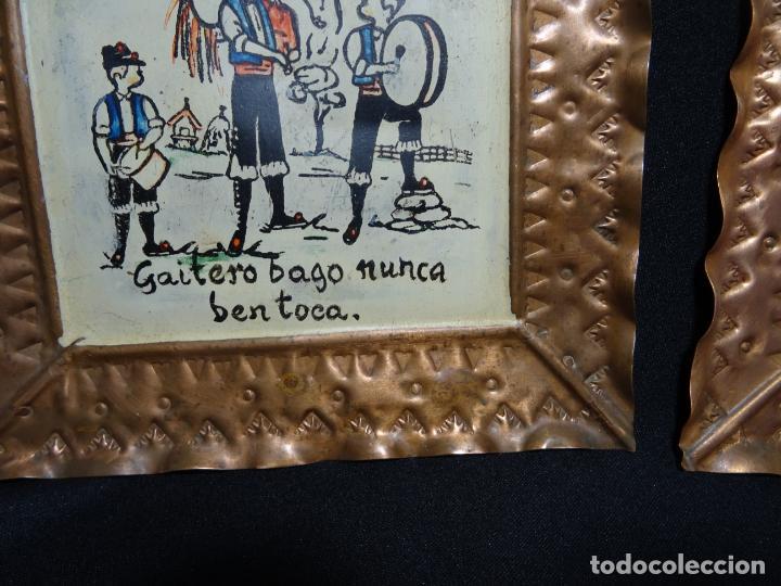 Antigüedades: tres cuadro años 1950-60 ,cobre con refran es gallegos. Galicia.pintados a mano - Foto 2 - 163349198