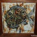 Antigüedades: (M) AZULEJO ESCENA DE UN PEZ - FIRMADO ELISARD SALA , ENMARCADO. Lote 163362870