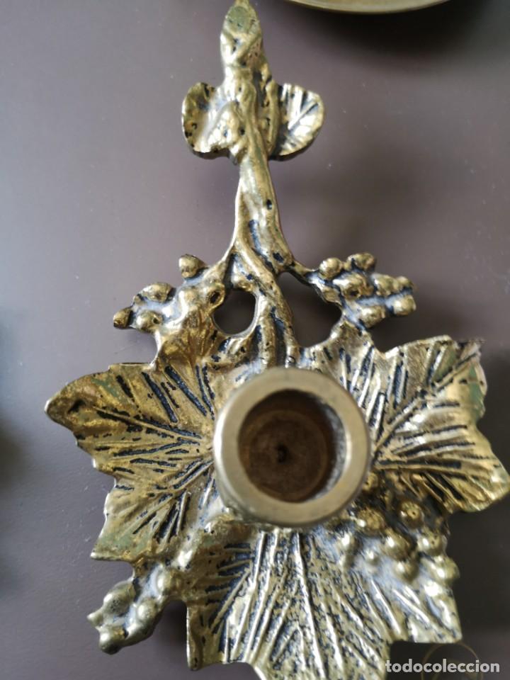 Antigüedades: 3 portavelas bronce - Foto 4 - 163370570