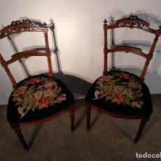 Antigüedades: SILLAS DE NOGAL. Lote 163376614