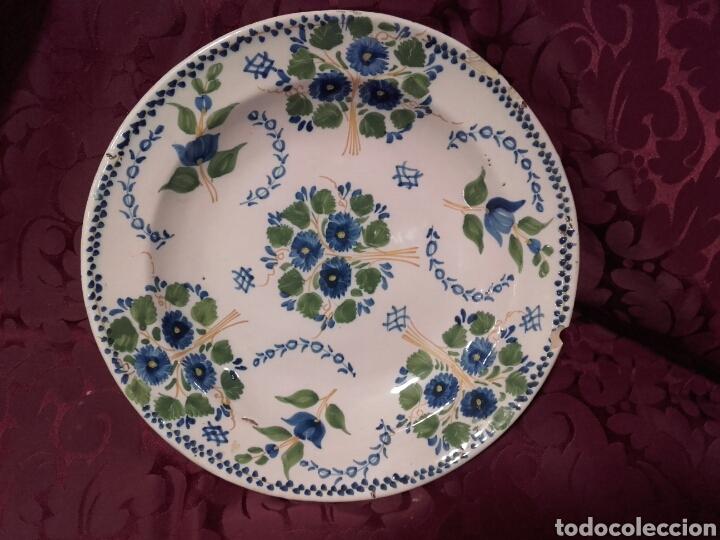 ANTIGUO PLATO DE RIBESALBES. SIGLO XIX. (Antigüedades - Porcelanas y Cerámicas - Ribesalbes)