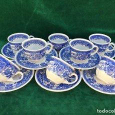 Antigüedades: JUEGO ANTIGUO DE TAZAS DE CAFE SEMIPORCELANA SELLO VILLEROY&BOCH. Lote 163406326