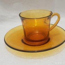 Antiguidades: TAZA CAFÉ VINTAGE DURALEX COLOR OCRE.. Lote 163448162
