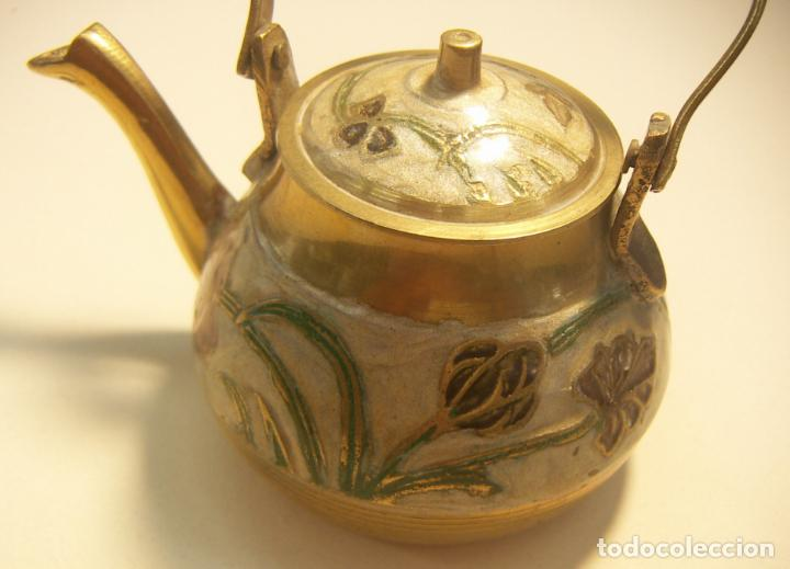 Antigüedades: Antigua tetera Inglesa de cloisone con tapa - Foto 2 - 126708203