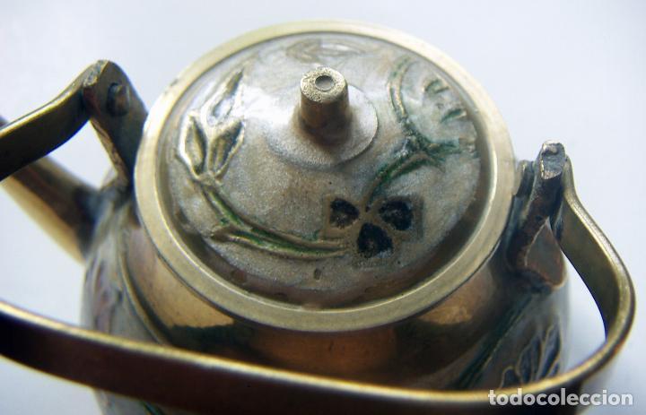 Antigüedades: Antigua tetera Inglesa de cloisone con tapa - Foto 4 - 126708203
