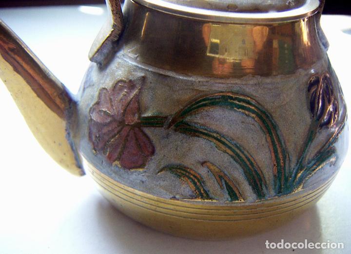 Antigüedades: Antigua tetera Inglesa de cloisone con tapa - Foto 6 - 126708203