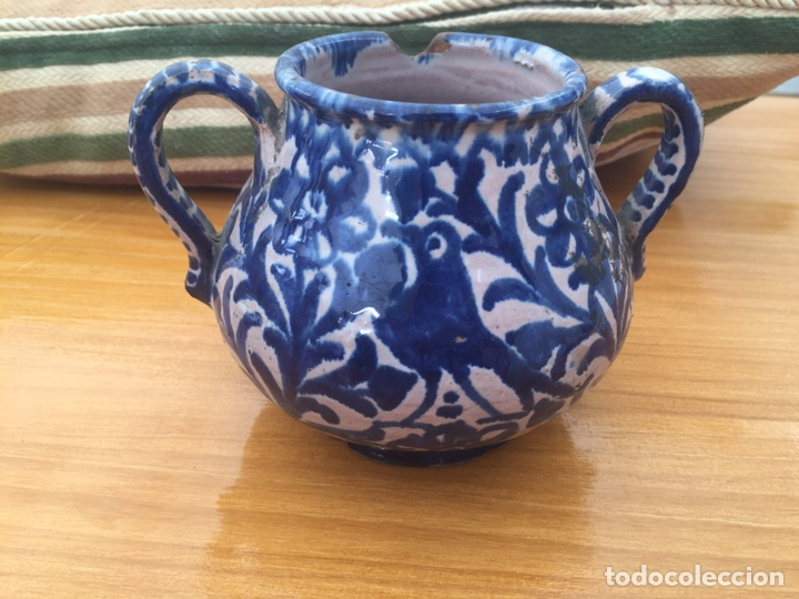 AZUCARERO DE OLLA DE FAJALAUZA FINALES DEL SIGLO XIX (Antigüedades - Porcelanas y Cerámicas - Fajalauza)