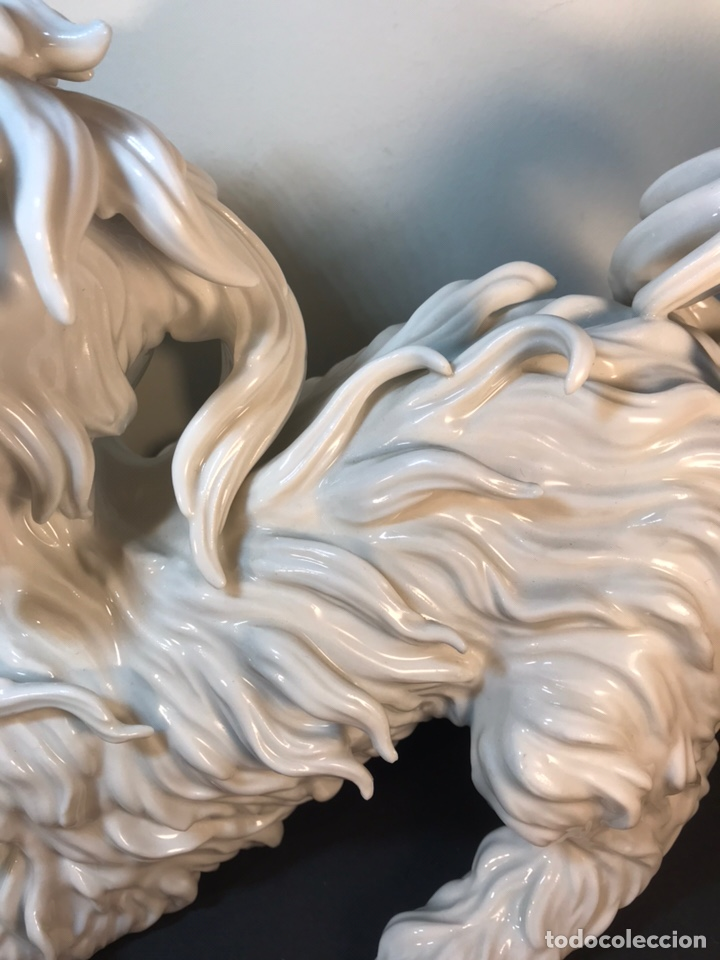 Antigüedades: Figura Porcelana- España- Algora- Perro Boloñés- 40x19x24 cm. - Foto 8 - 163490364