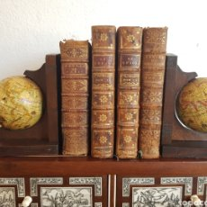 Antiquités: PAREJA DE SUJETA LIBROS GLOBO TERRAQUEO BOLA DEL MUNDO MAPAMUNDI. Lote 163493900