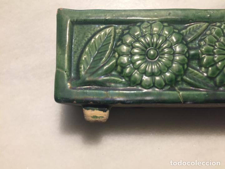 Antigüedades: Antigua jardinera / macetero ceramica vidriada en verde de estilo Modernista / Art Deco años 30-40 - Foto 4 - 163498946