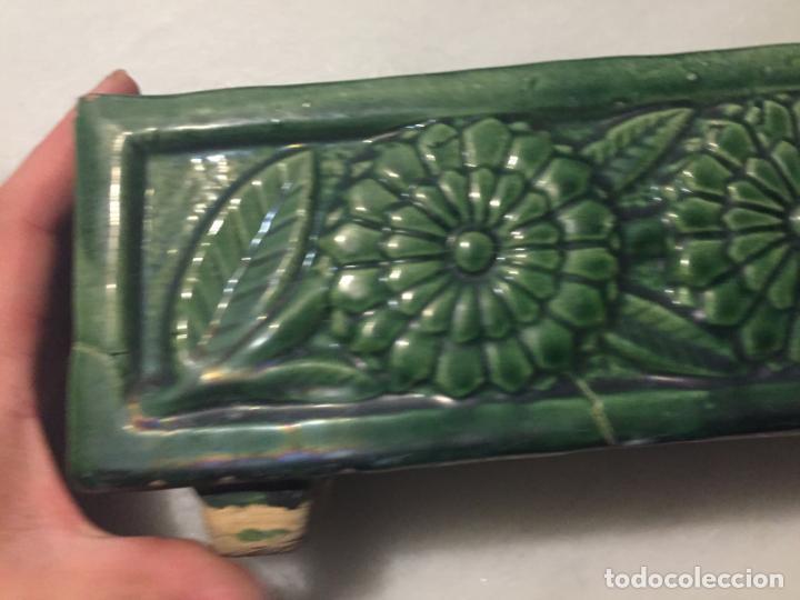 Antigüedades: Antigua jardinera / macetero ceramica vidriada en verde de estilo Modernista / Art Deco años 30-40 - Foto 8 - 163498946