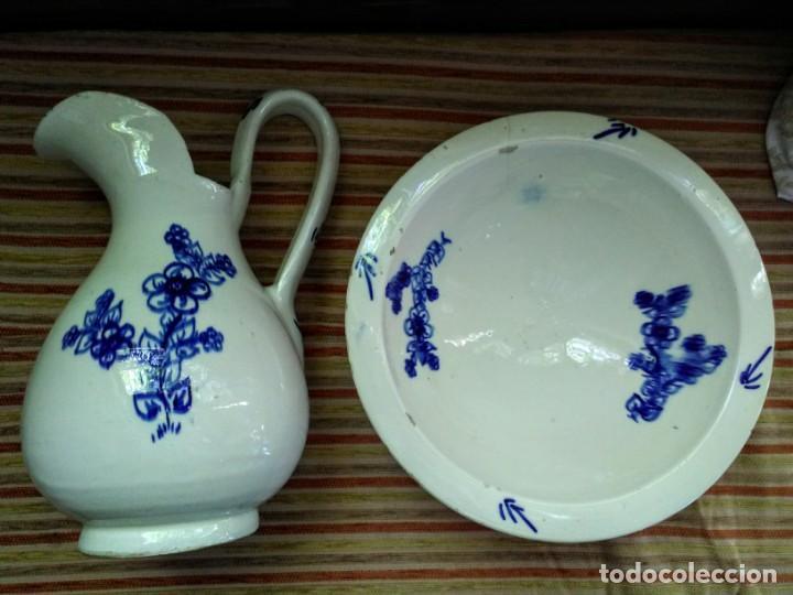 Antigüedades: Jofaina y jarra aguamanil palanganero de ceramica muy antigua - Foto 2 - 163551606