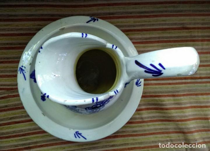 Antigüedades: Jofaina y jarra aguamanil palanganero de ceramica muy antigua - Foto 3 - 163551606