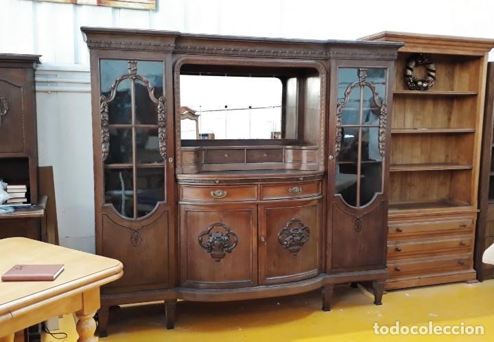 Aparador antiguo alemán estilo modernista Mueble de salón comedor librero  estantería vitrina antigua