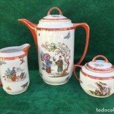 Antigüedades: JUEGO ANTIGUO DE CAFE EN PORCELANA DE BAVARIA SELLO SCHWARZENHAMMER. Lote 163581118