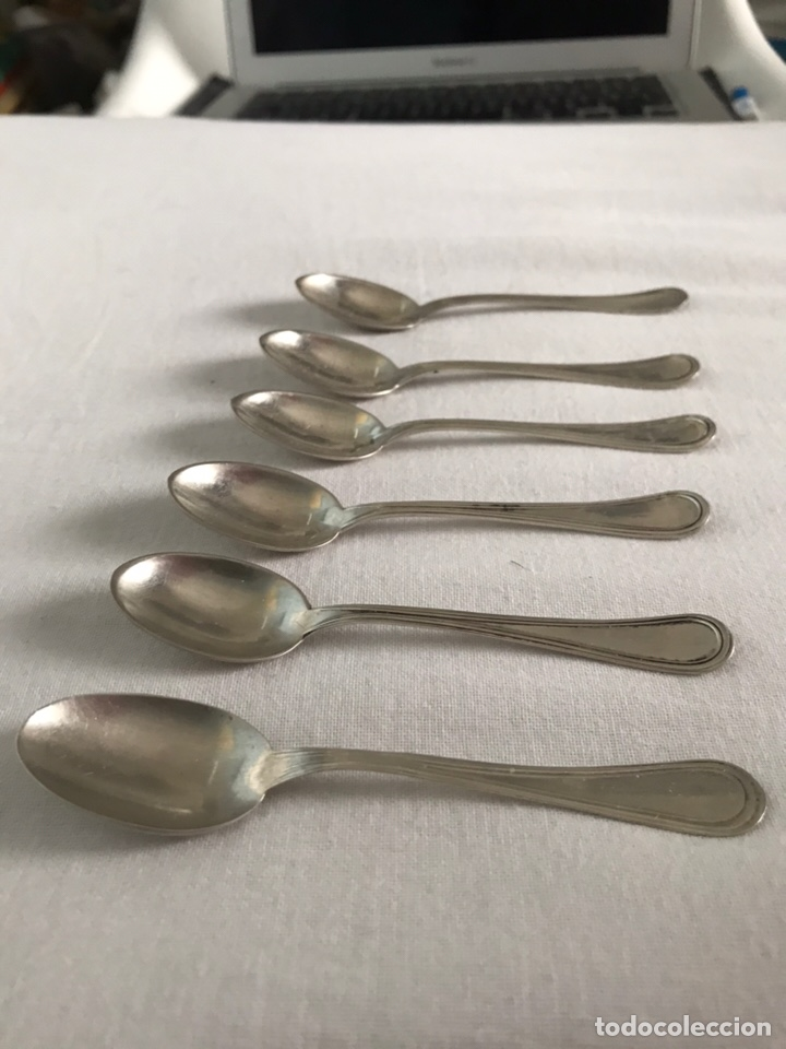 Antigüedades: Lote 6 cucharillas plata de ley cucharas cafe postre - Foto 3 - 174905489