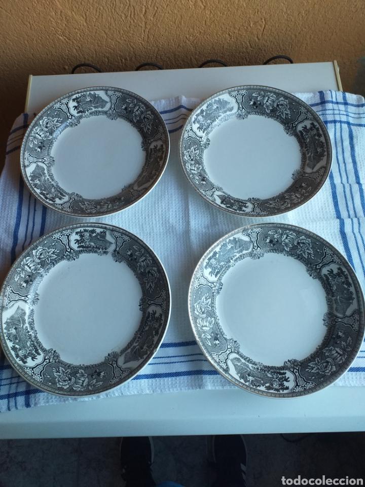 4 PLATOS ASTURIANA GIJON,N1 (Antigüedades - Porcelanas y Cerámicas - Otras)