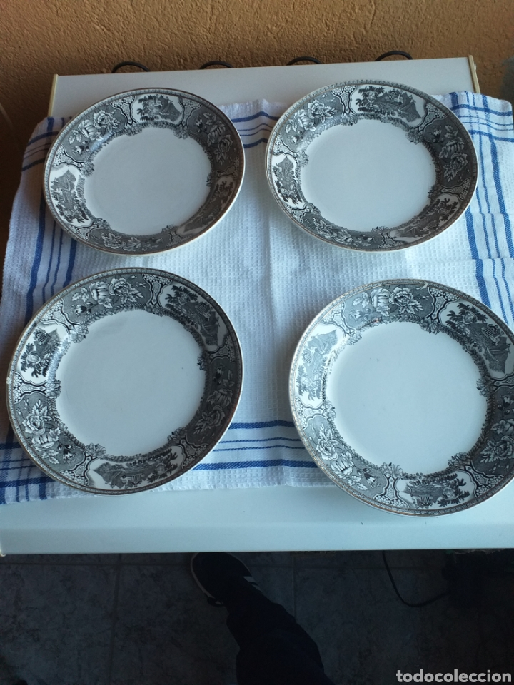 4 PLATOS ASTURIANA GIJON,N2 (Antigüedades - Porcelanas y Cerámicas - Otras)