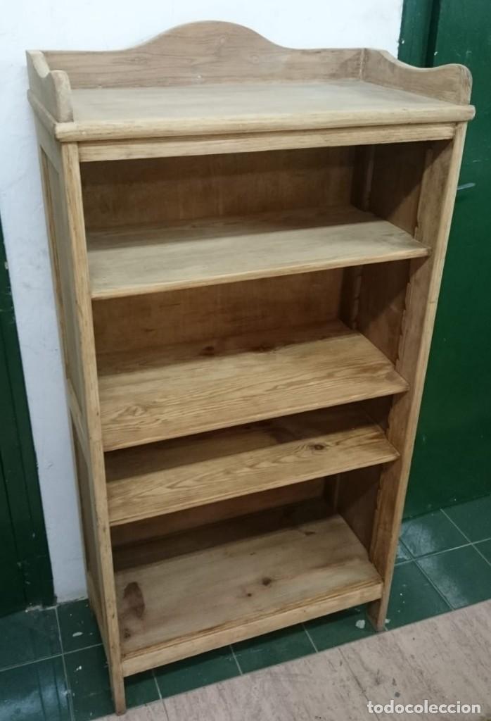 Antigüedades: mueble auxiliar, estantería, librería, decapado , en su madera natural roble y baldas de pino - Foto 2 - 163608034