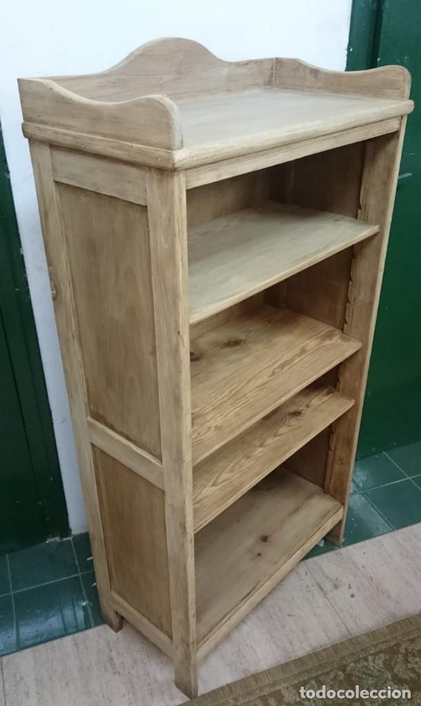 Antigüedades: mueble auxiliar, estantería, librería, decapado , en su madera natural roble y baldas de pino - Foto 3 - 163608034