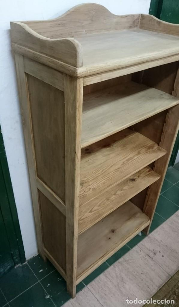 Antigüedades: mueble auxiliar, estantería, librería, decapado , en su madera natural roble y baldas de pino - Foto 5 - 163608034