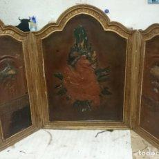 Antigüedades: TRIPTICO EN CUERO CON LA VENIDA DE LA VIRGEN DEL PILAR.. Lote 163610126