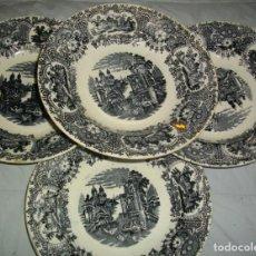 Antigüedades: EXCELENTES 4 PLATOS DE LA CARTUJA- PIKMAN (( 23 X 4 CTMS )) CON SELLOS. Lote 163633346