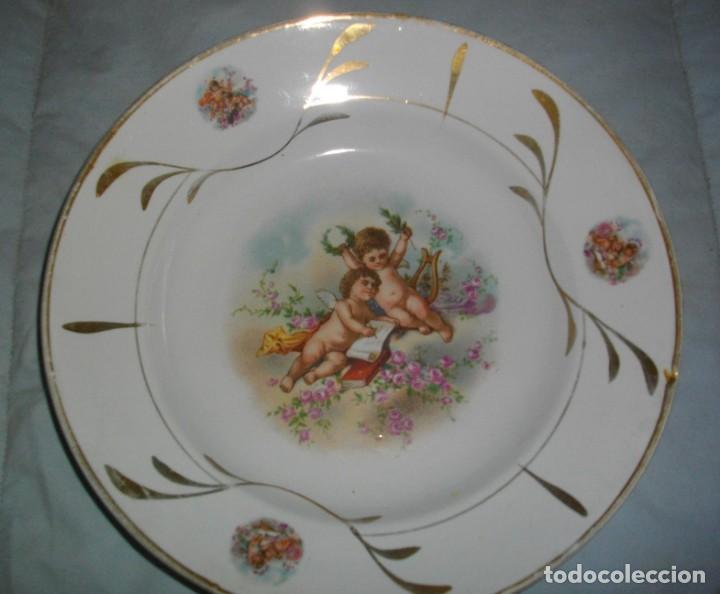 Antigüedades: excelentes 2 platos de la ceramica- oviedo (( 23 x 4 ctms )) con sellos serie angeles - Foto 3 - 163633422