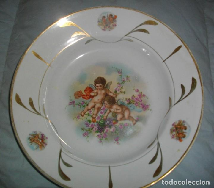 Antigüedades: excelentes 2 platos de la ceramica- oviedo (( 23 x 4 ctms )) con sellos serie angeles - Foto 4 - 163633422