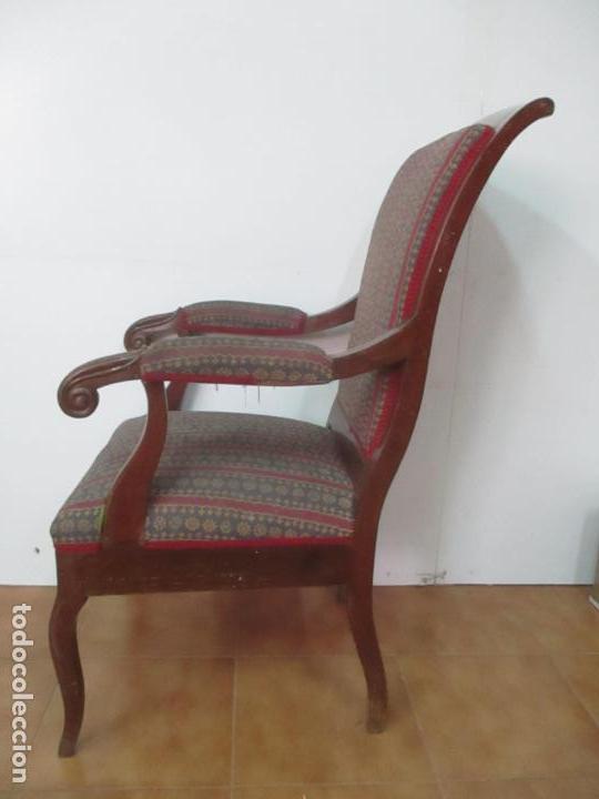 Antigüedades: Antiguo Sillón Isabelino - Madera de Caoba - Ideal Despacho, Decoración - S, XIX - Foto 5 - 163680938